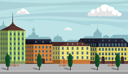 Vintage Europe city landscape illustration. City buildings along wide street with trees, benches and street lamps. Beautiful cartoon vector illustration.