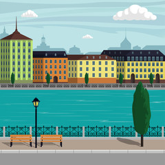 Vintage Europe city landscape illustration. City buildings along the river. Beautiful cartoon vector illustration.