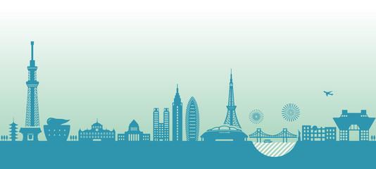 Tokyo cityscape illustration. famous landmark building ,architecture. / blue color