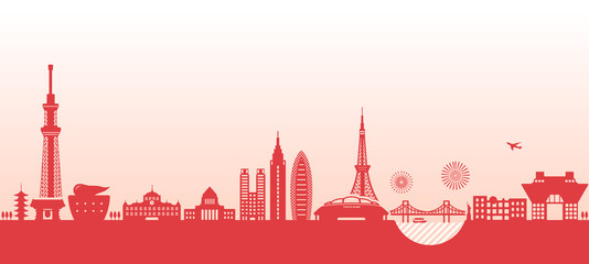 Tokyo cityscape illustration. famous landmark building ,architecture. / red color