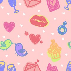 seamless pattern about valentines day. valentines day seamless pattern. background for valentines day. Vector Illustration.