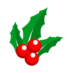 Holly Berry Ornament Detail Vector Illustration