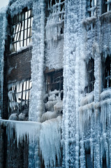 Close-up of a vintage Chicago industrial warehouse factory turned into an ice palace after a fire.