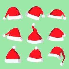 Christmas Santa Hat Vector Illustration Set