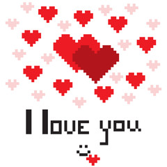 An illustration in the form of a pixelated hearts with the inscription I love you and smiley