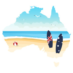 Contour of Australia with ocean, beach and surfboards isolated on a white background. Day of Australia.