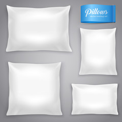 White Realistic Pillows Background Set