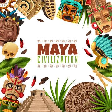 Maya Civilization Cartoon Frame
