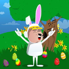 Boy dressed as Easter bunny with hands in rocker pose. Vector cartoon character illustration.