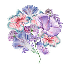Watercolor bouquet with flowers. Orchid. Petunia. Illustration. Hand drawn.