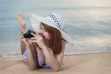 Woman taking photo picture with camera