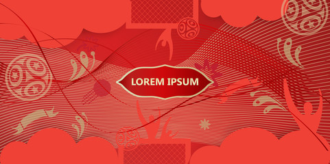 Welcome to Russia abstract invitation, ticket, poster with Russian folk art elements, sports, football, world, symbols and soccer ball, stars, fireworks, pattern abstract vector concept.