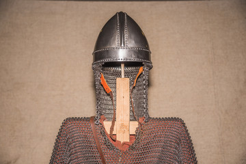 medieval armor helmet and body protection