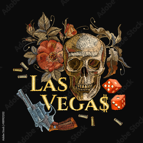 Embroidery Skulls And Guns Dice Las Vegas Slogan Casino Concept