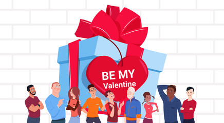 Valentines Day Banner Group Of People Over Big Gift Box With Heart Shaped Tag Flat Vector Illustration
