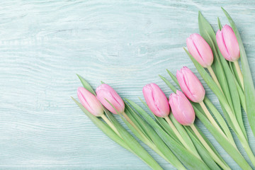 Pink tulip flowers on rustic table for March 8, International Womans or Mothers day. Beautiful spring card. Top view.