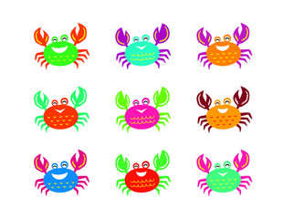 cute happy crab vector collection