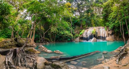 Wall Mural - Waterfall in Thailand name Erawan in forest at Kanchanaburi provience