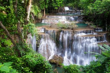 Waterfall in Thailand, called Huay or Huai mae khamin in Kanchanaburi Provience