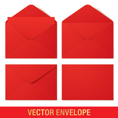 Set of red vector envelopes in different views, isolated on a white background. Realistic red vector envelope mockups.
