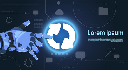 Wall Mural - Robotic Hand Touch System Update Button On Digital Screen Modern Technology Banner With Copy Space Flat Vector Illustration