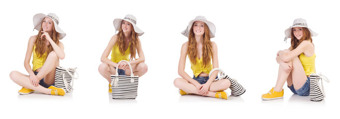 Young girl  with panama and handbag in fashion concepts isolated