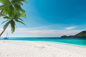 The white sand beach with the blue sky in Thailand