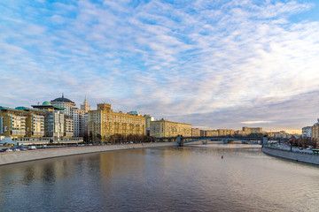 Moscow, Russia. Views of Smolenskaya embankment and Borodino bridge