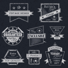 Vector set of vintage labels. Retro labels. Vintage labels collection. Vintage styled signs. Grunge design
