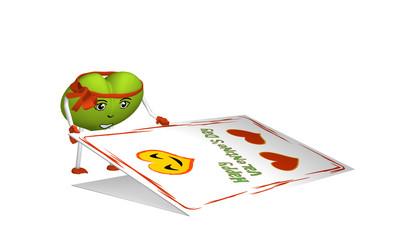 grünes Herz-Emoticon öffnet eine Valentinskarte. 3d render