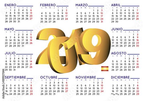 Calendario Free.Calendario 2019 Calendar In Spanish Horizontal Stock Image