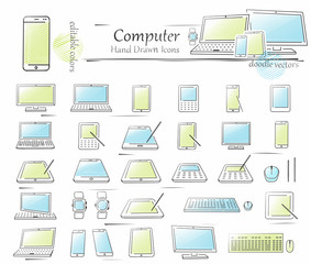 Hand drawn Computer icon set. Vector doodles isolated on white background