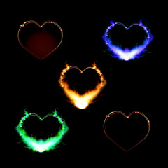 Hearts on a dark background, burning on the contour of the flame - set.