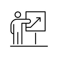 Presentation business people icon simple line flat illustration