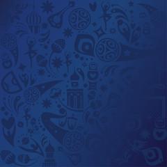 Soccer world international championship blue pattern concept modern design, sports, football symbols, soccer ball, russian folk art elements blue pattern, banner vector template