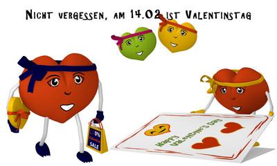 Valentinstag Bild mit niedlichen Herzchen, Geschenk, Valentinskarte