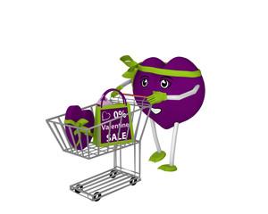 niedliches Herz-Emoticon in violett mit Einkaufswagen. 3d render