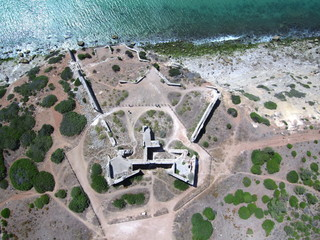 Forte Almeida (Portugal) en Burgau, Lagos, en la región portuguesa del Algarve. Fotografia aerea con Drone