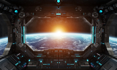 Wall Mural - Spaceship grunge interior with view on planet Earth