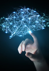 Wall Mural - Businessman using digital x-ray human brain interface 3D rendering