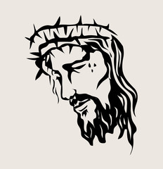 The face of the Lord Jesus on the Cross, art vector design