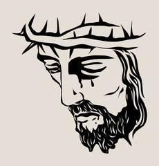 Jesus Christ Face, art vector sketch drawing design