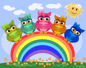 Five bright, cartoonish, beautiful, pink owls with bows on the ear sit on a seven-colored rainbow