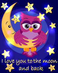 bright, cartoon, beautiful pink owl-girl with beautiful eyes keeps wings for a month among the stars