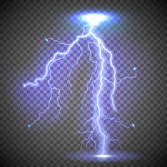 Vector illustration of a realistic glowing lightning