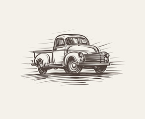 Retro American Pickup Truck hand drawn illustration. Vector.