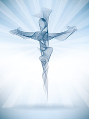 Vector abstract christian cross with bright rays. Blend effect vectors