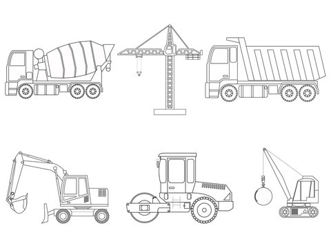 Set of construction machinery. Line art. Children's coloring. Vector illustration
