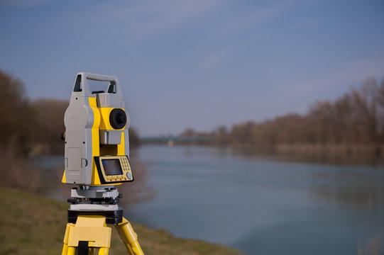 Surveyor equipment on a tripod