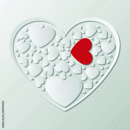 Beautiful white paper cut the heart with white frame. There are many ...
